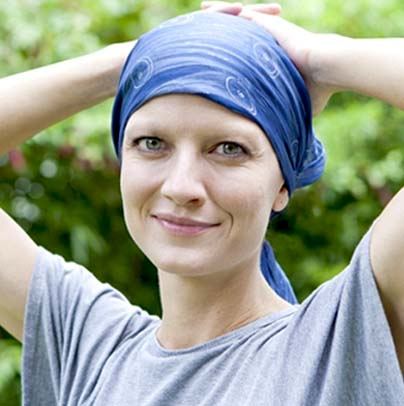 Women Cancer Patient with a head scarf